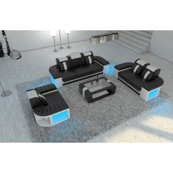 Incredible Leather Sectional Sofa Set Boston 3 2 1 Led Lights Favorave Pabps2019 Chair Design Images Pabps2019Com
