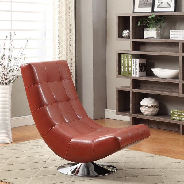 Astounding Mario Red Bonded Leather Armless Swivel Club Chair Favorave Uwap Interior Chair Design Uwaporg